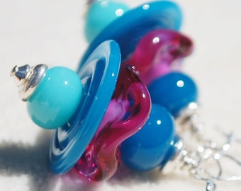 ENDLESS SUMMER- Handmade Lampwork and Sterling Silver Earrings