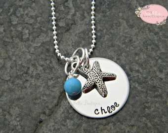 HALF OFF Personalized Hand Stamped Star Fish Necklace with Turquoise Pearl Charm
