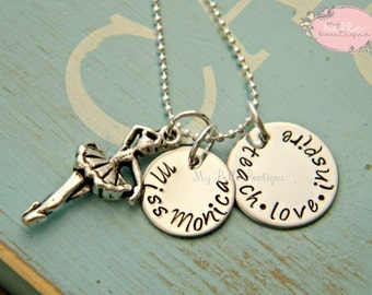 Personalized Hand Stamped Dance Teacher Necklace with Dancer Charm - Teach Love Inspire