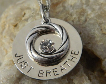 Just Breathe Inspirational Necklace with Spiral and Crystal