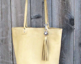 Lemon Yellow Maize Italian Leather Fiona Tote Key Ring Tassel African Bead Handmade