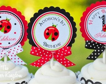 Ladybug  Cupcake Toppers with Bows , Ladybug Birthday Party - Set of 12
