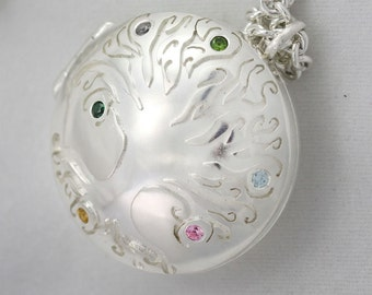 """Locket- Mother's Tree of Life, Lrg. w-6stones(24"""")(Made to order)"""