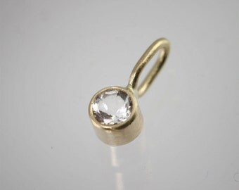White Topaz Drop Pendant in 14k Yellow Gold (pendant only)