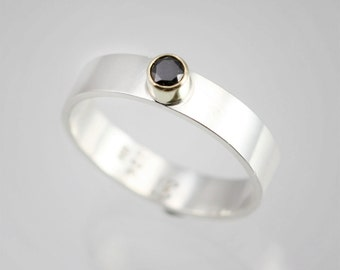1 Stone on Shank Ring 14K (Black Cubic Zirconia) (Made to Order)