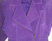 Reserved Finlandia Leather Jacket Violet Urban Biker Cut Fitted Hipster Coat Metal Zipper