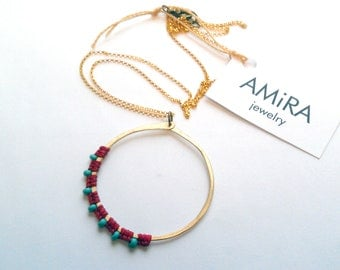 Full Moon Rising brass necklace red with turquoise czech glass beads
