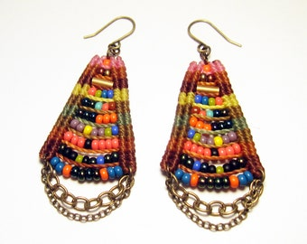 Woven Temple Earrings in Camel & Pink Multicolor