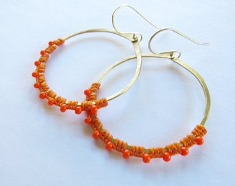 Full Moon Rising Hoops in orange and orange