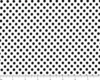 Lots of Dots Dalmation White with Black Dots Spotty Dot Polka Dots Cotton FABRIC - 1 Yard