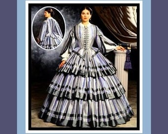 Exquisite Southern Belle Dress-Designer Costume Sewing Pattern-Civil War Era-Pagoda Sleeves-Boned Bodice-Size 6-12-Uncut- Out of Print-Rare
