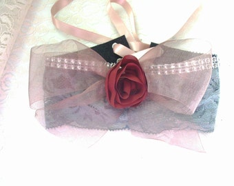 Victorian style Choker -  Grey Lace and Leather/ Rosette Bow