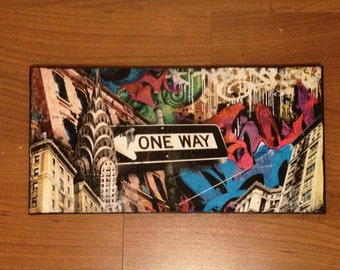"""One way - NYC photography/ Graffiti/ paint on 8""""x16"""" stretched canvas"""