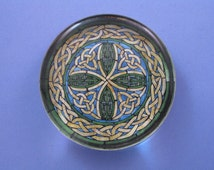 Blue and Green Celtic Stained Glass Window Large Round Glass Paperweight Home Decor