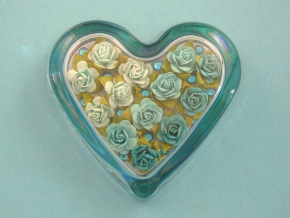 Valentine Decor Turquoise Rose Floral Heart Glass Paperweight Home Decor