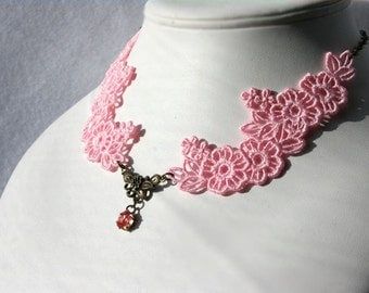 Aphrodite NECKLACE Vintage Inspired - Pink - Anniversary - Wedding - Free Standing Lace Embroidery