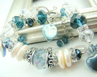 Blue crystal bracelet,  chunky pearl bracelet, double strand charm bracelet, sterling silver chain...  RHAPSODY IN BLUE