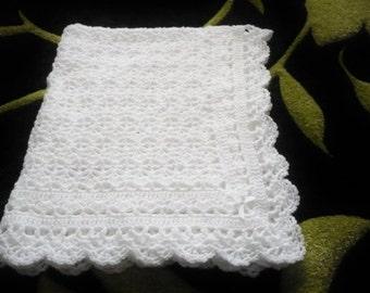 Baby Blanket Christening Blanket in White for a Boy or Girl Crocheted