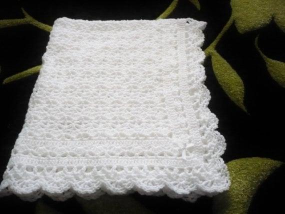 Crochet Patterns Christening Blanket : Crocheted Baby Blanket Christening Blanket in White for by ...
