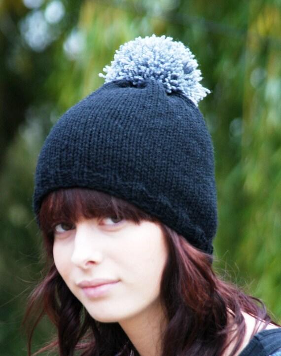 Mega PomPom Black Knitted Beanie Hat