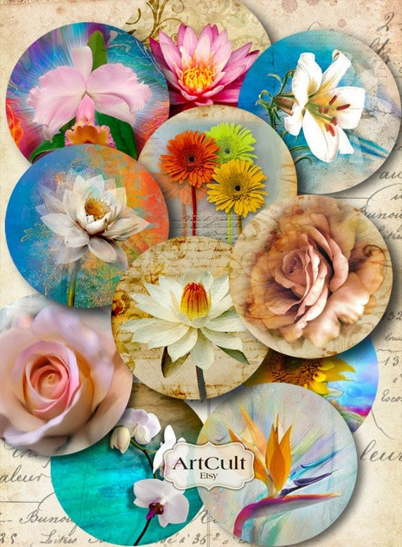 Printable clip art EDEN FLOWERS 2.5 inch size Digital Collage Sheets Circle Vintage Images for Pocket Mirrors Magnets Paper Weights. ArtCult
