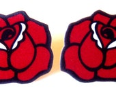 Rose Earrings Red Tattoo by Dolly Cool