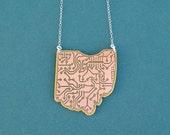 ohio necklace | handmade circuit board necklace | circuit board necklace | ohio pendant | gift for her