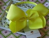 INVENTORY BLOWOUT SALE----X Large Hair Bow U-Shape Headband-----Neon Yellow----