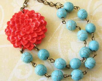 Flower Necklace Coral Necklace Turquoise Jewelry Beaded Necklace Bridesmaid Jewelry Statement Necklace
