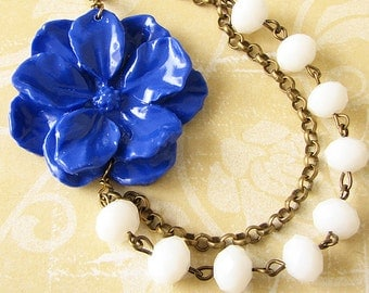 Bridesmaid Gift Flower Necklace Navy Blue Necklace Beaded Necklace Statement Necklace Gift Women