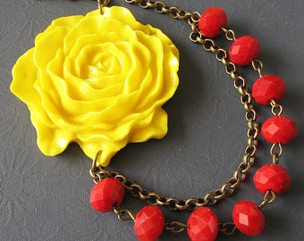 Statement Necklace Flower Necklace Yellow Jewelry Red Necklace Bridesmaid Jewelry Bib Necklace Gift For Her