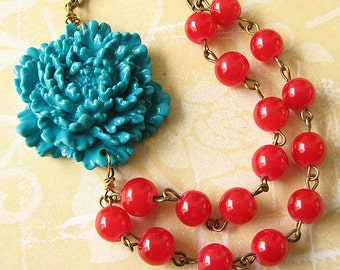 Flower Necklace Statement Necklace Teal Necklace Red Jewelry Beaded Necklace Gift For Her