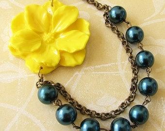 Bridesmaid Jewelry Flower Necklace Navy Blue Jewelry Yellow Necklace Beaded Necklace Statement Necklace Gift For Her