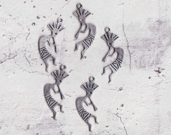 Kokopeli Indian Charms, Antique Silver, Double Sided, Pack Of 10