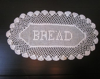 Antique Crocheted Lace Bread Doily in Lovers Knot