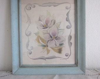 Vintage Artist Signed Pastel Painting in Original Frame