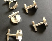 20 pcs Combo (5 pairs) - Silver Plated Brass Round bezel cufflink Blank with Glass tile inserts Cadmium free