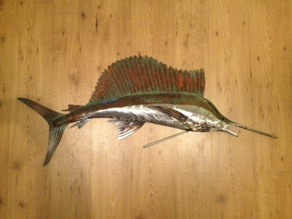 Sailfish metal wall art fish sculpture handmade beach coastal for Metal fish art wall decor