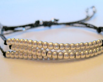 Three Strand Silver and Black adjustable bracelet