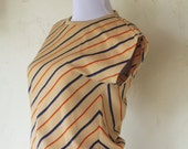 RESERVED FOR MAGGIE** 1970s diagonal striped top / 70s knit summer tee / size small