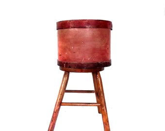 1940s Pantry Box Vintage Red Washed Large Round Pantry Box Storage