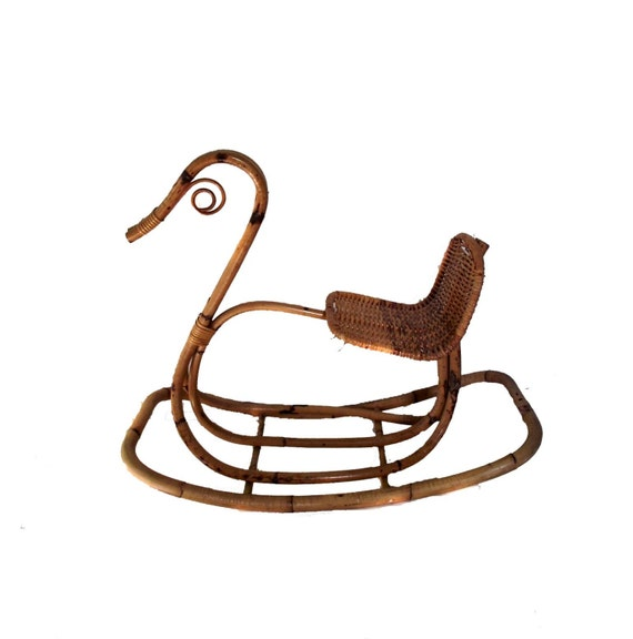 Victorian Style Childs Rocking Horse Antique Rocker Bamboo Rattan Swan Rocking Horse