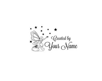 Handle Mounted or Cling Personalized Name custom made rubber stamps C68