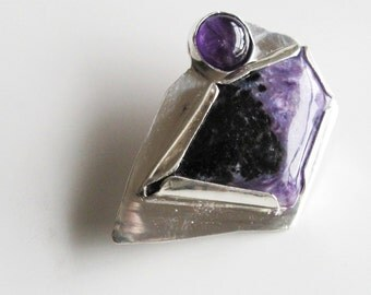Big Purple Brooch: Russian Charoite and Amethyst on Sterling Silver