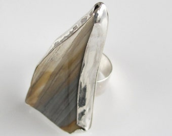 Statement Ring: Striped Earth Tone Jasper on Sterling Silver