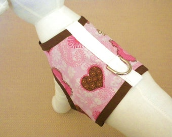 Pink And Brown Hearts Dog Harness Vest