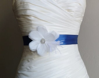 White and Navy Blue Feather Bridal Sash - RIVIERA - Bridal or Bridesmaids Sash - Made to Order