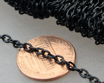 50 ft of Black Finished Cable Chain - 3.8x2.7mm 0.7mm Unsoldered Link