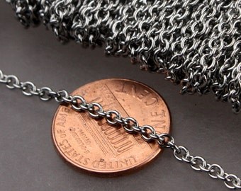 Stainless Steel chain bulk, 30 ft of Surgical Stainless Steel Medium Soldered Sturdy cable chain - 2.7x2.4mm SOLDERED Link