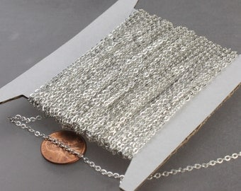 100 feet Sterling Silver Plated Flat Chain Flat Cable Chain - 3x1.7mm SOLDERED - Necklace Bracelet DIY Wholesale Bulk Chain